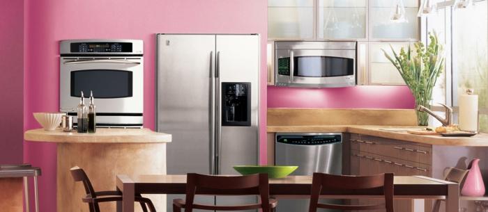 wandfarbe küche rosa kleine küche einrichten essbereich gestalten