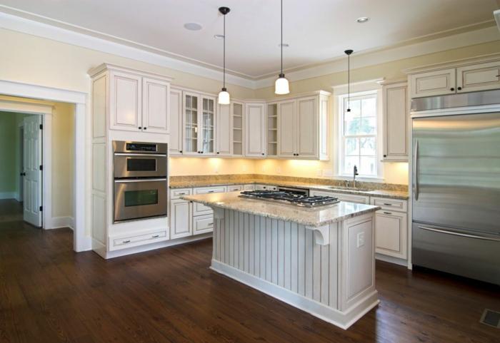 wände streichen ideen küche weiße kücheneinrichtung unterschrankleuchten