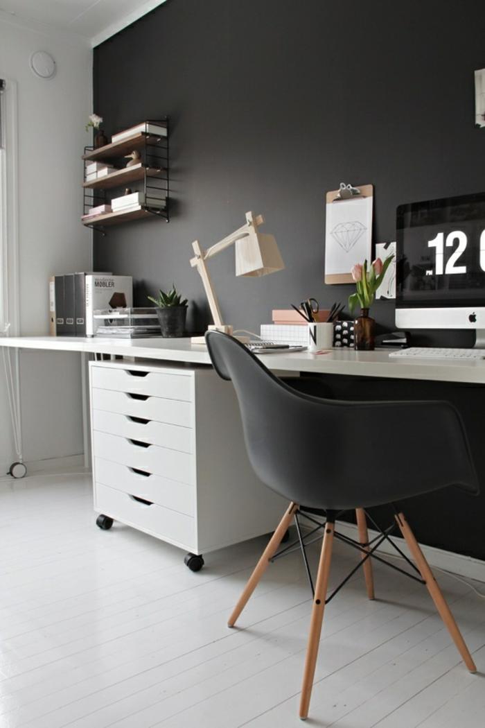 wandfarben ideen home office schwarze wände pflanzen