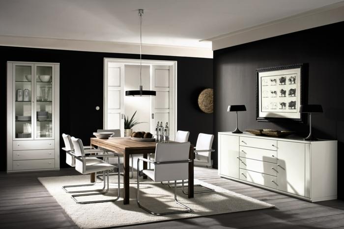 wandfarben ideen wohnideen esszimmer dunkle wandfarbe weiße kommode