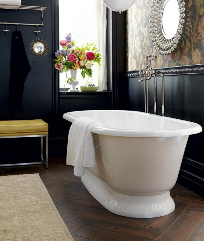 wanfarben ideen dunkle wände badezimmer wandgestaltung ideen badewanne