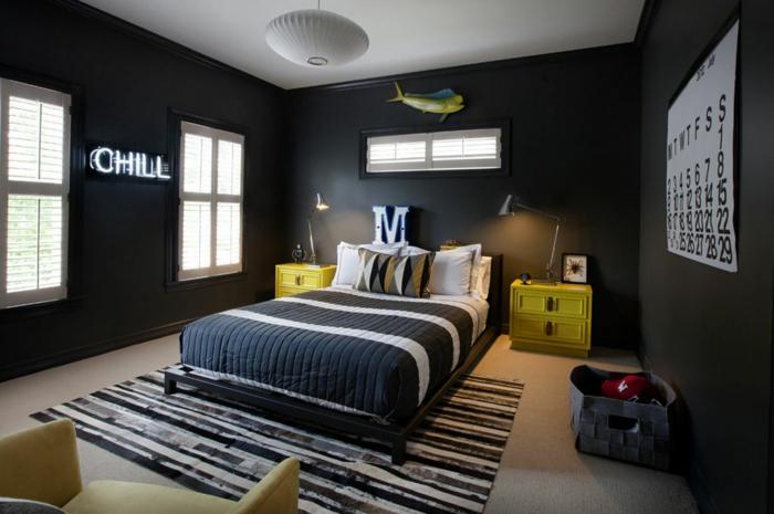 wanfarben ideen jungenzimmer teppich schwarze wände gelbe möbel