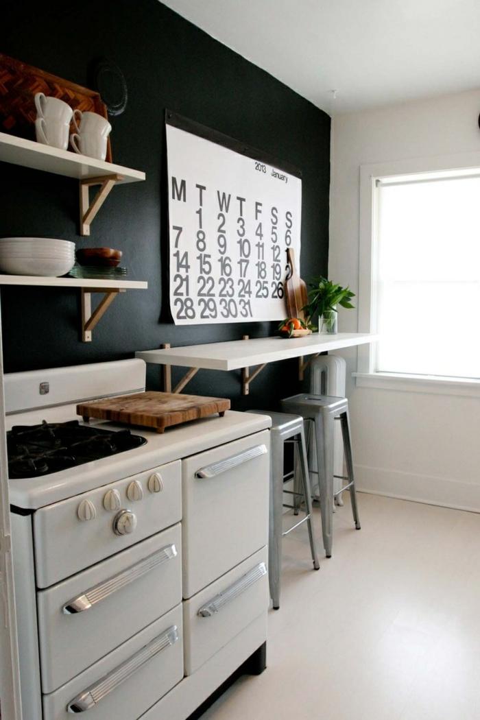 wanfarben ideen schwarze wände küche heller boden pflanze