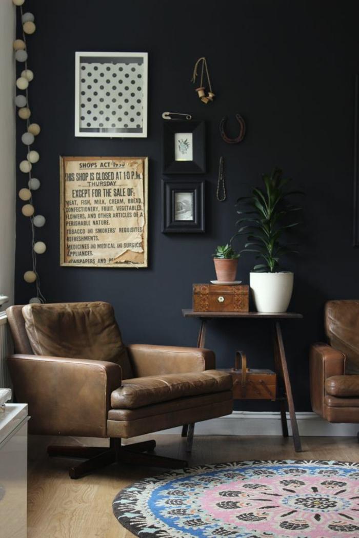 wanfarben ideen schwarze wände wohnideen wohnzimmer