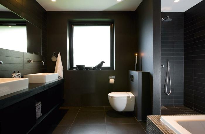 wanfarben ideen wohnideen badezimmer wandgestaltung schwarze wände große bodenfliesen