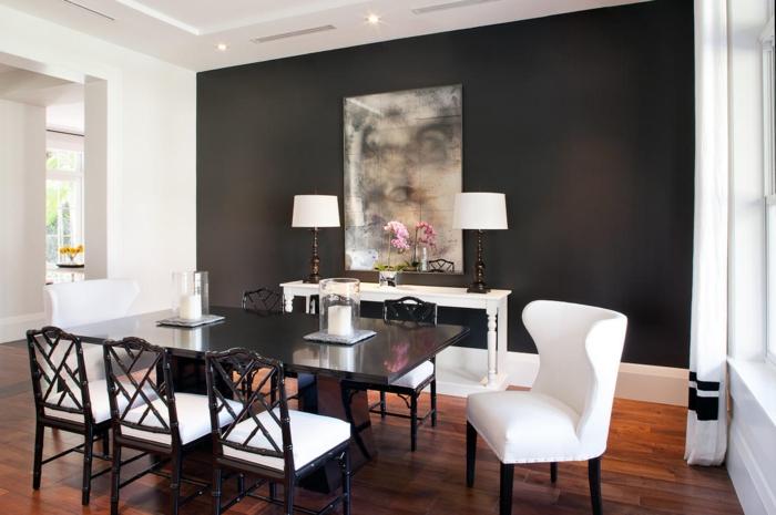 wanfarben ideen wohnideen esszimmer schwarze akzentwand helle gardinen