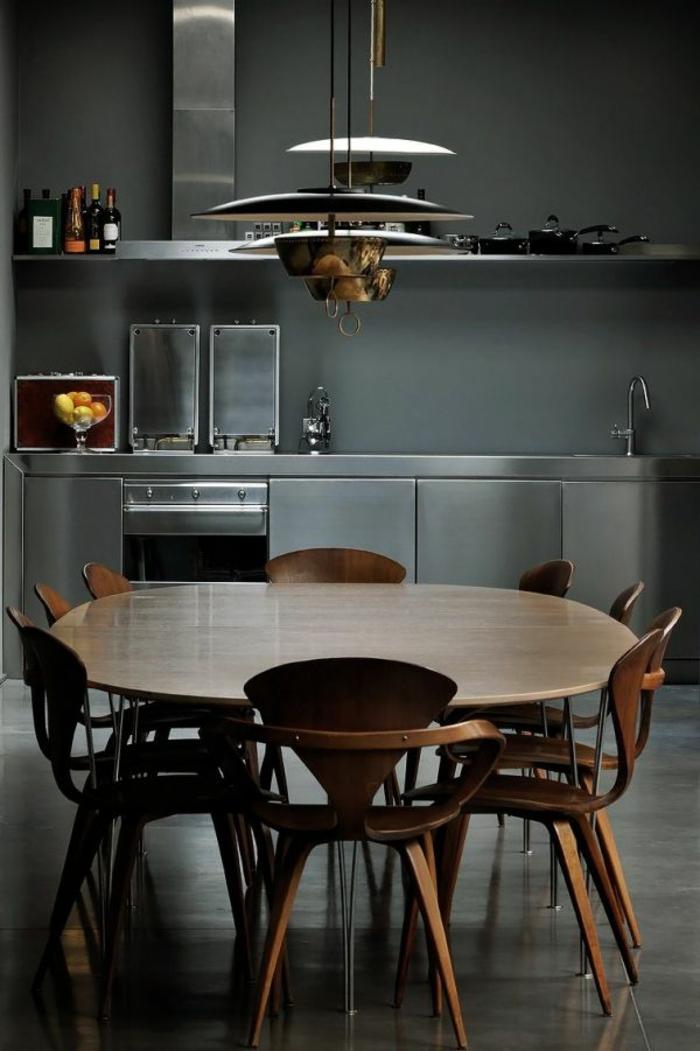 wanfarben ideen wohnideen küche runder esstisch pendelleuchten
