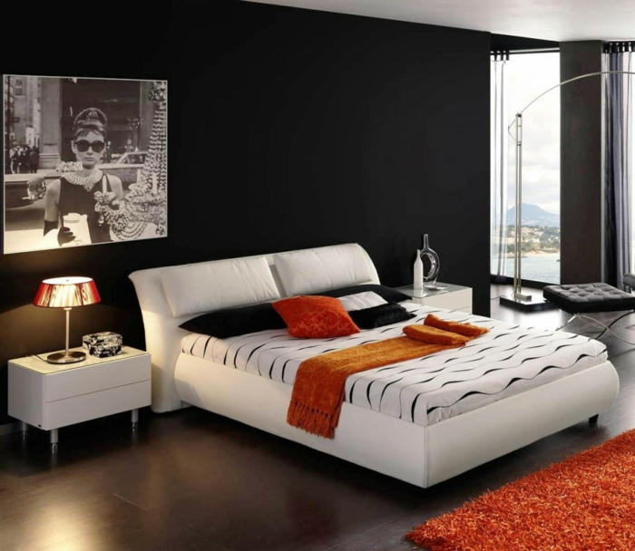 wanfarben ideen wohnideen schlafzimmer dunkle wände oranger teppich