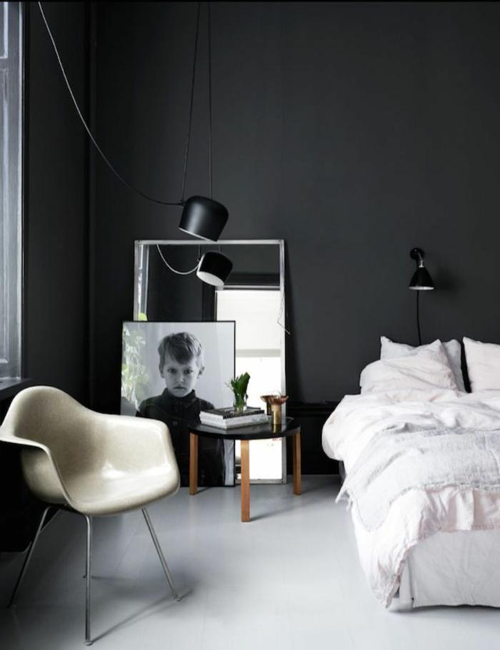wanfarben ideen wohnideen schlafzimmer schwarze wände sessel