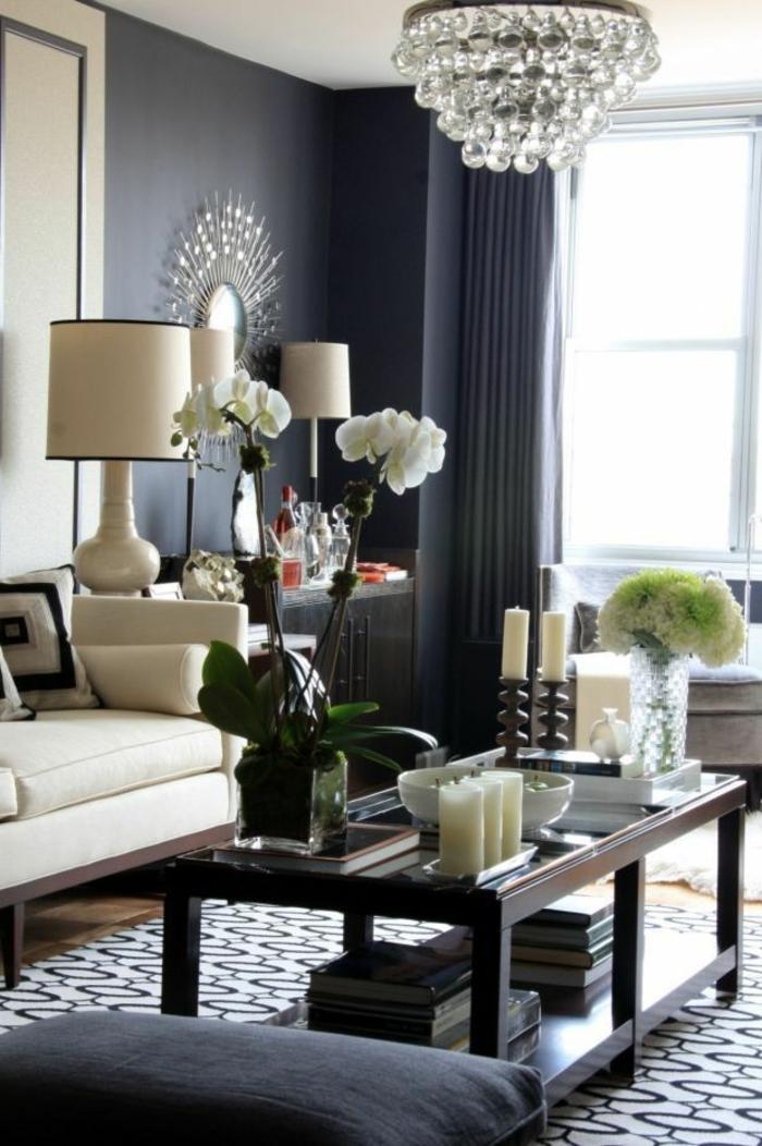 wanfarben ideen wohnideen wohnzimmer graue wände teppich orchideen