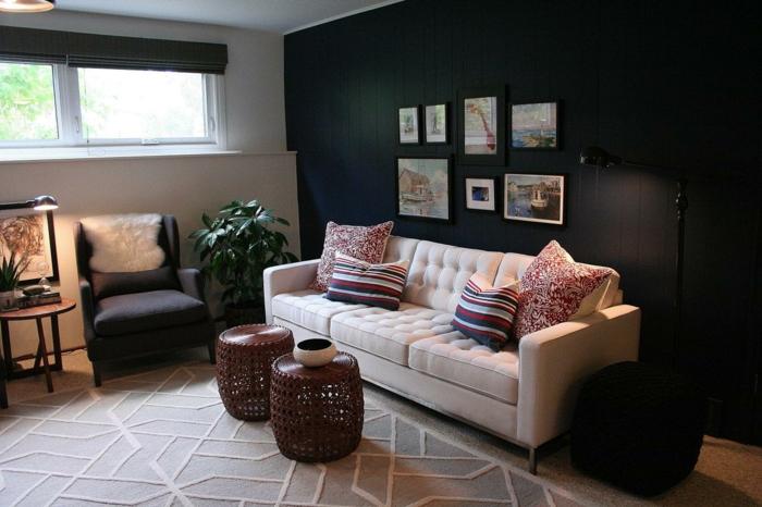 wanfarben ideen wohnideen wohnzimmer helles sofa beistelltische pflanze
