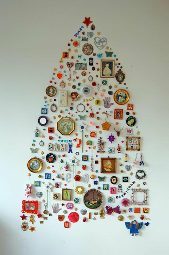 weihnachtsbaum basteln aus kleinen accessoires und fotos