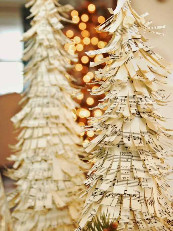 weihnachtsdeko ideen diy christbaum weihnachtsbäume selber machen notenpapier