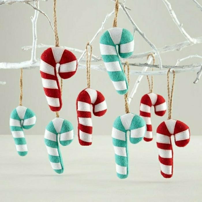 weihnachtsdeko ideen diy christbaumschmuck anhänger zuckerstangen filz selber machen