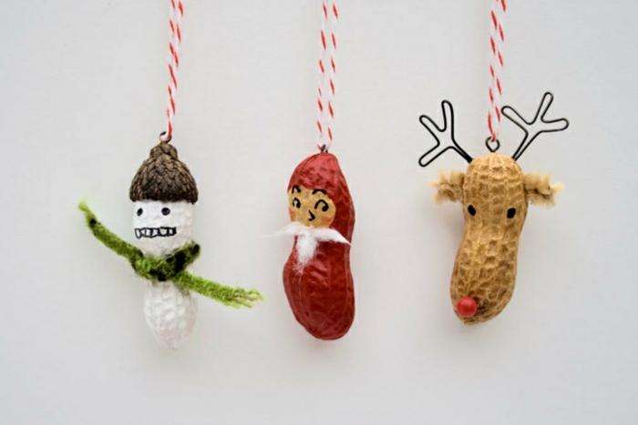weihnachtsdeko ideen diy christbaumschmuck selber basteln erdnussschalen baumanhänger