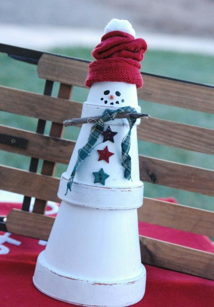 weihnachtsdeko ideen diy schneemann selber machen blumentöpfe weiß bemalen