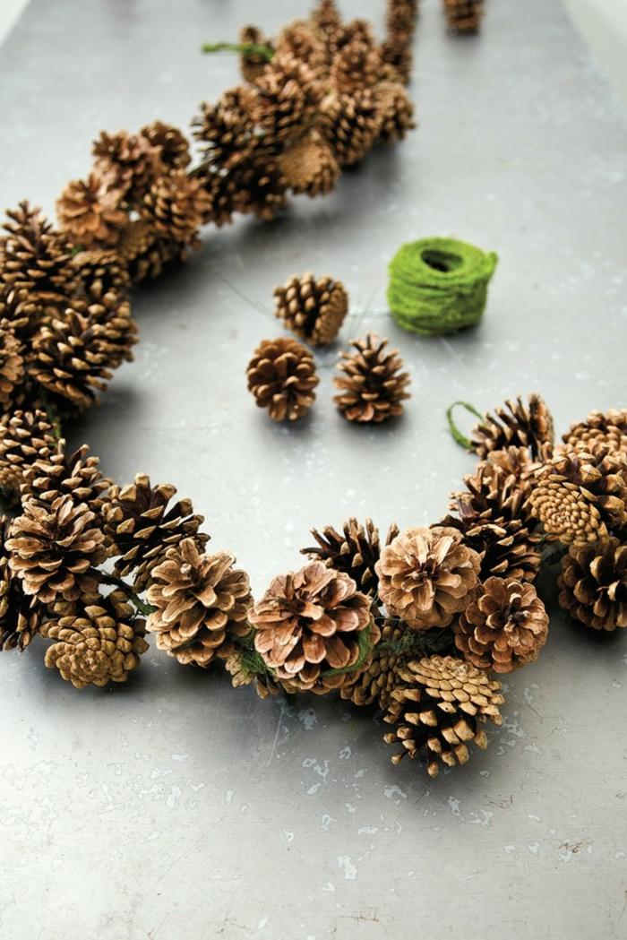 weihnachtsdeko ideen diy weihnchtsgirlande selber machen tannenzapfen