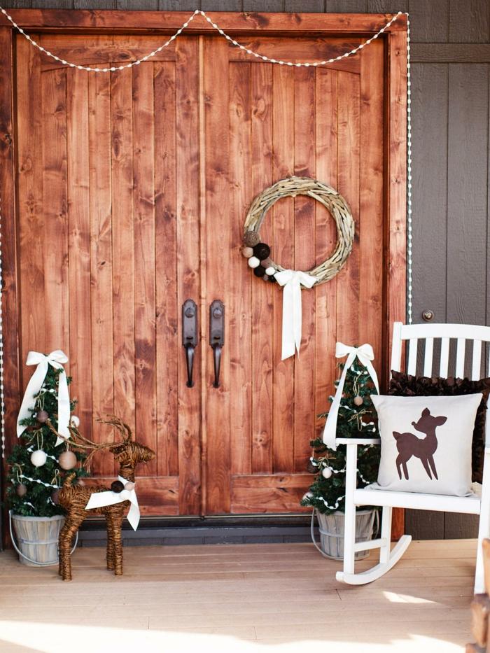 weihnachtsdeko ideen rustikal skandinavisch schaukelstuhl dekokette