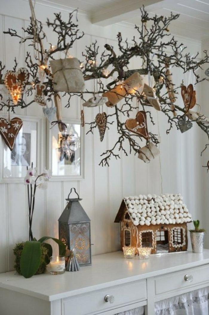 weihnachtsdeko ideen skandinavisch baumzweige licht rustikal gemütlich