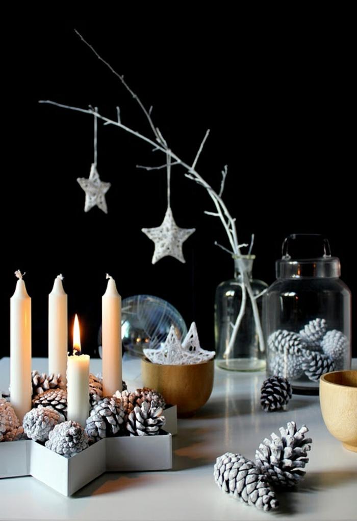 Weihnachtsdeko Ideen Skandinavisch Weihnachtsornamente Sterne Kerzen