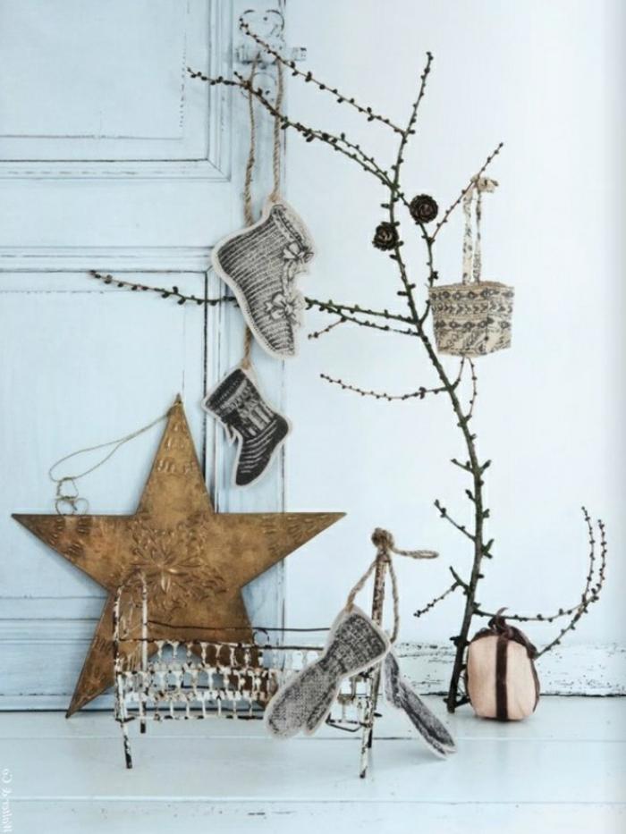 weihnachtsdeko ideen skandinavischer stil weihnachtsstern äste