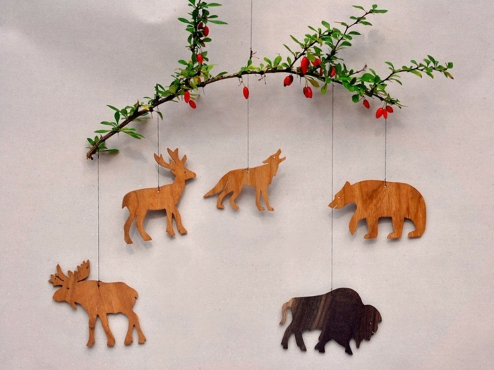 weihnachtsdekoration ideen christbaum holzfiguren tierfiguren weihnachtsbaum deko
