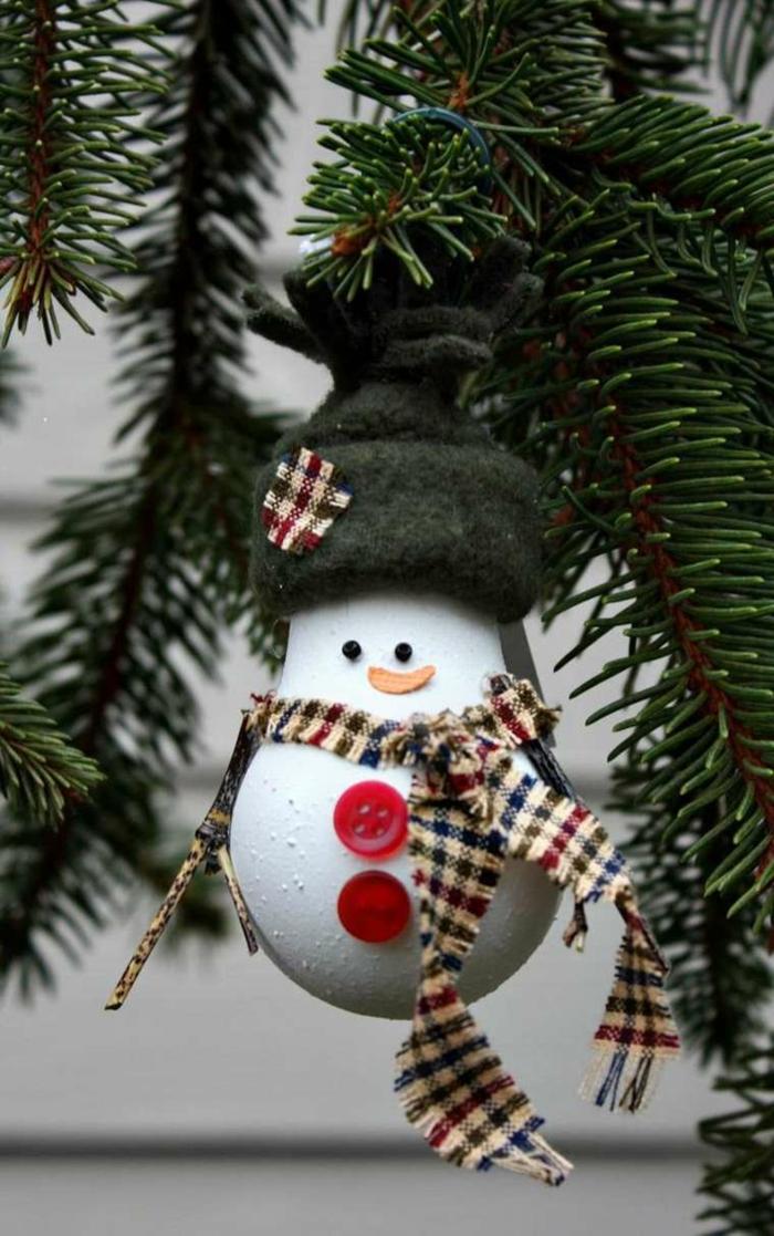 weihnachtsdekoration ideen christbaumschmuck schneemann selber machen alte glühbirne