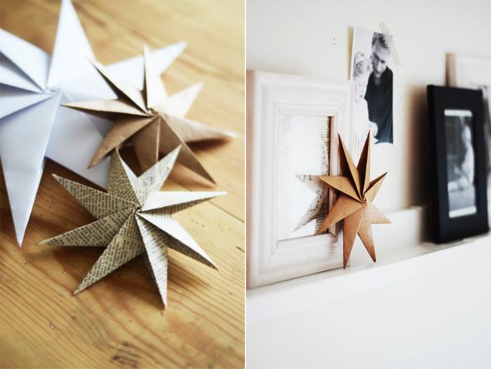 weihnachtsdekoration ideen christbaumschmuck selber machen papiersterne