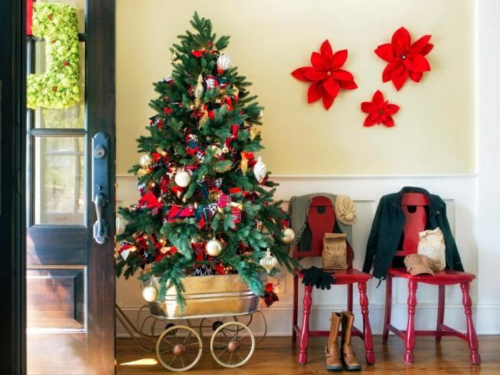 weihnachtsdekoration ideen diy upcycling deko weihnachtsbaum weihnachtssterne wanddekoration