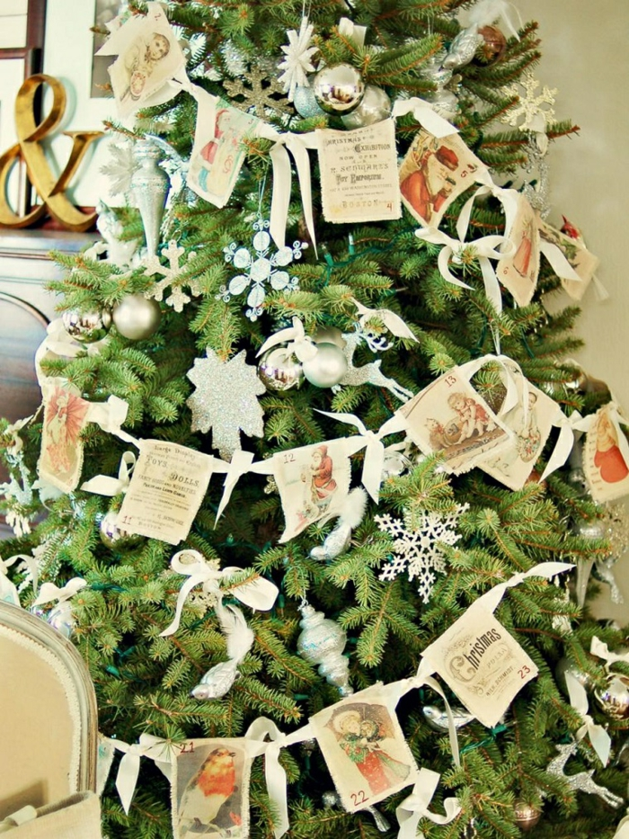 weihnachtsdekoration ideen vintage weihnachtsbaum weihnachtskugeln