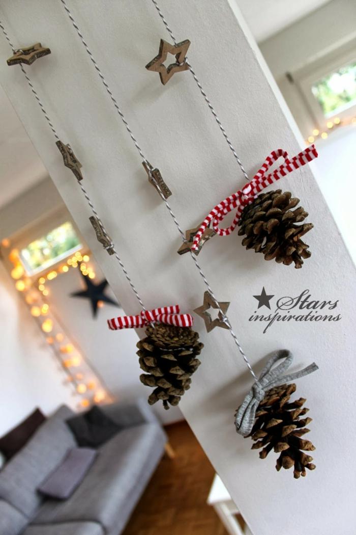 weihnachtsdekoration ideen wanddekoration diy tannenzapfen sterne anhänger