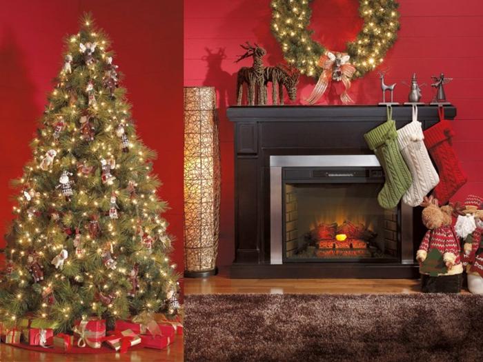 Kamin weihnachtlich dekorieren goldene Farbe
