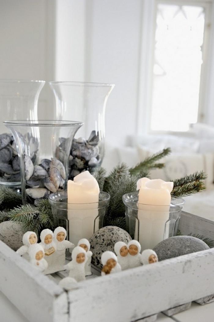 weihnachtsschmuck skandinavischer stil kerzen steine rustikal
