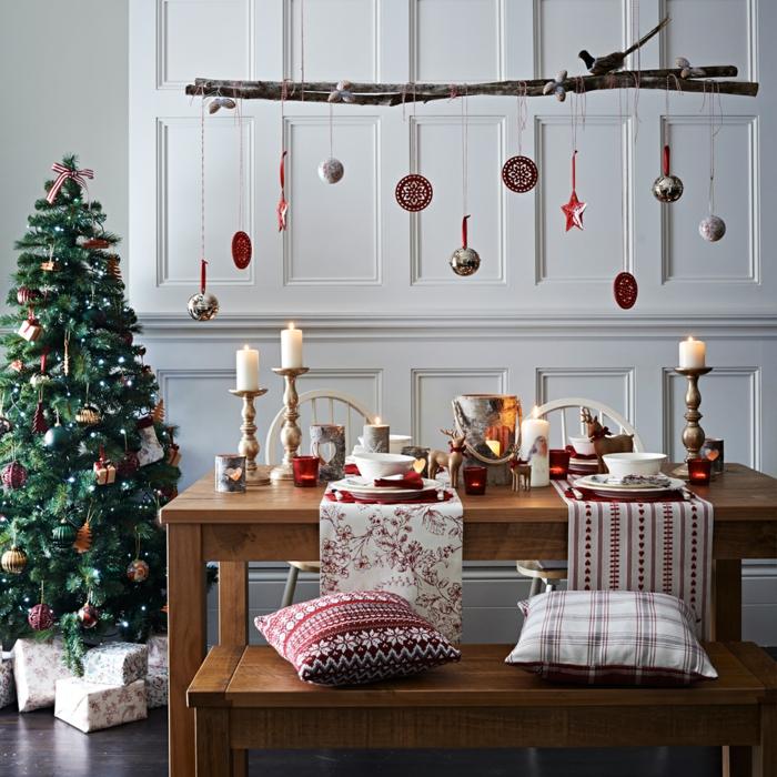 weihnachtsschmuck skandinavischer stil kerzen zweig tischläufer weihnachten