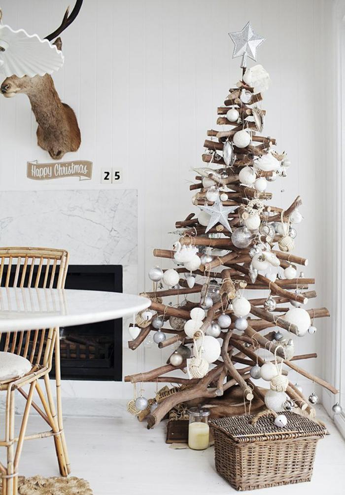 weihnachtsschmuck skandinavischer stil rustikal weihnachtsbaum kamin accessoires