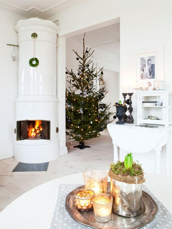 weihnachtsschmuck skandinavisches innendesign kamin weiß