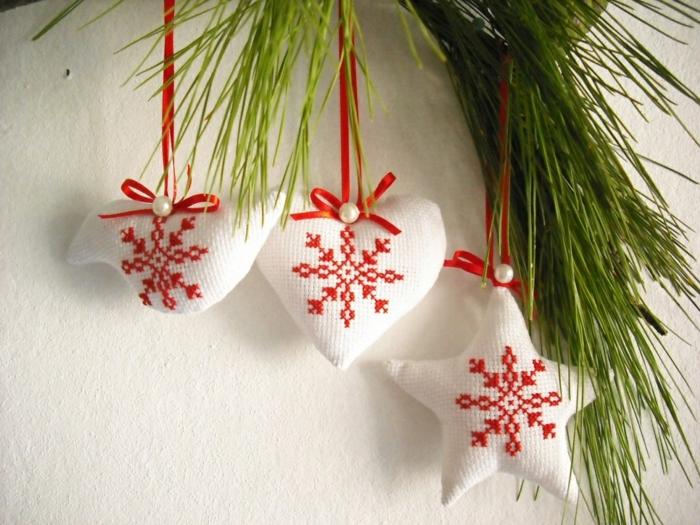 weihnachtsschmuck weihnachtsdeko ideen weihnachtsbaumanhänger tannenast