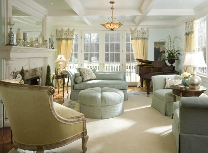 landhausstil wohnzimmer französischer landhausstil hellgrüne möbel heller teppich klavier