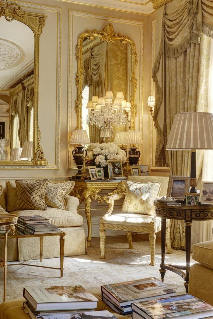 wohnzimmer landhausstil französischer stil luxuriös wandspiegel