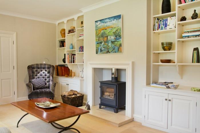 wohnzimmer landhausstil gemütlich offene regale helle wandfarbe