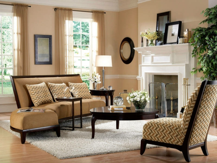 wohnzimmer teppich ideen:wohnzimmer streichen ideen beige wände elegante wohnzimmermöbel