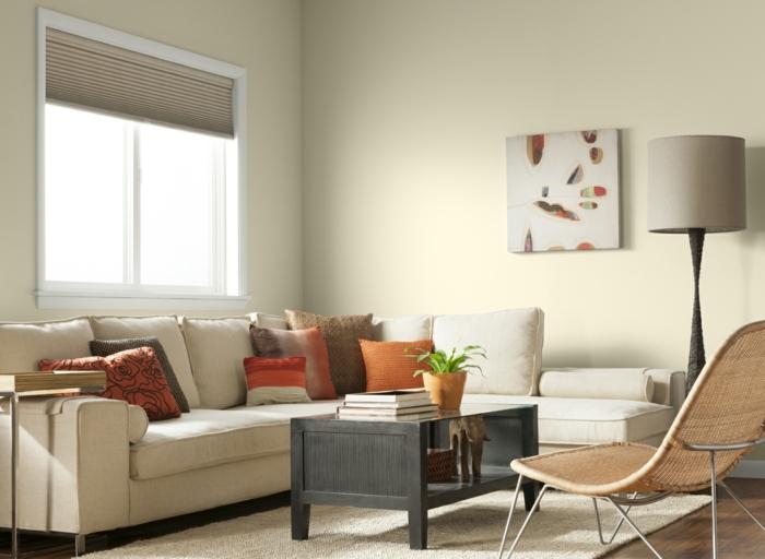 wohnzimmer streichen ideen beige wandfarbe teppich raffrollo ecksofa - Wandfarben Wohnzimmer Beige Weiss