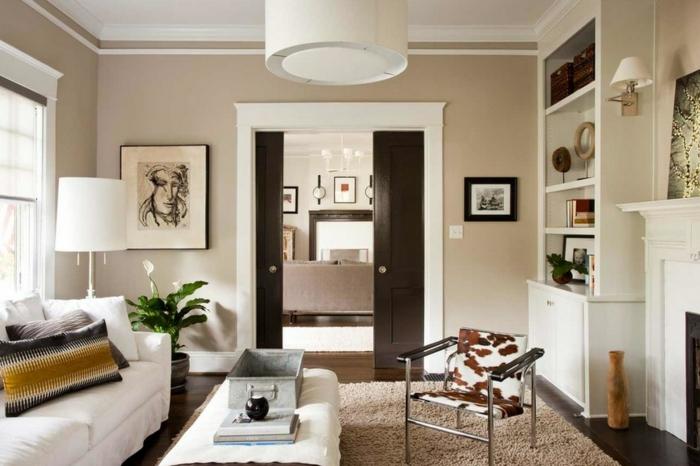 wohnzimmer beige rot:wohnzimmer streichen ideen beige wandfarbe teppich weiße möbel