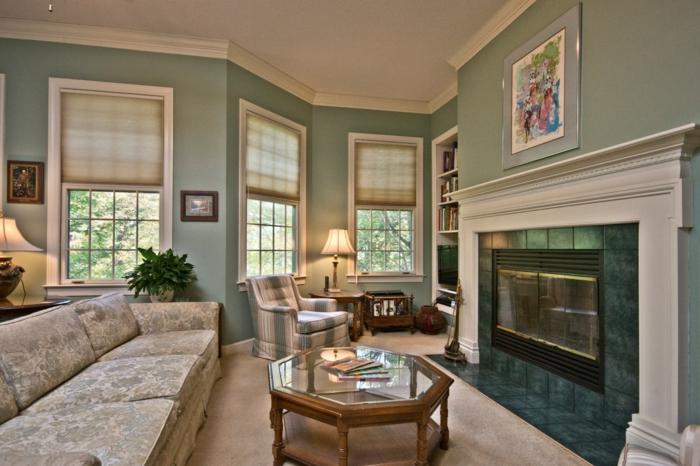 grünes wohnzimmer ideen:111 Wohnzimmer streichen Ideen – Die besten Nuancen für eine moderne  ~ grünes wohnzimmer ideen