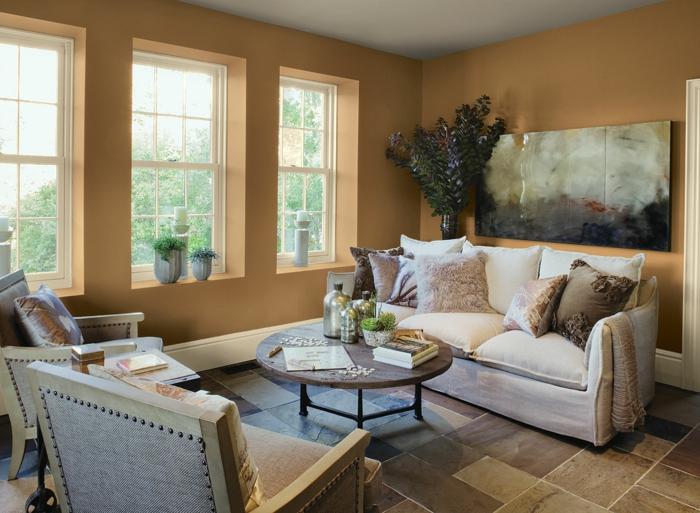 wohnzimmer streichen ideen helle wandfarbe bodenfliesen runder ...