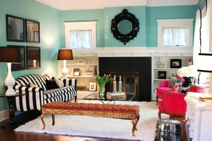 Design : Wohnzimmer Blau Streichen ~ Inspirierende Bilder Von ... Eine Wand Blau Streichen Wohnzimmer