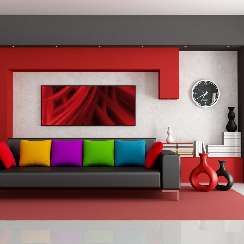 wohnzimmer wandfarbe ideen moderne wandfarben rot weiß