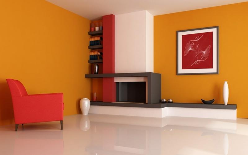 moderne wandfarben fürs jahr 2016: welche sind die neuen trendfarben? - Wohnzimmer Rot Orange