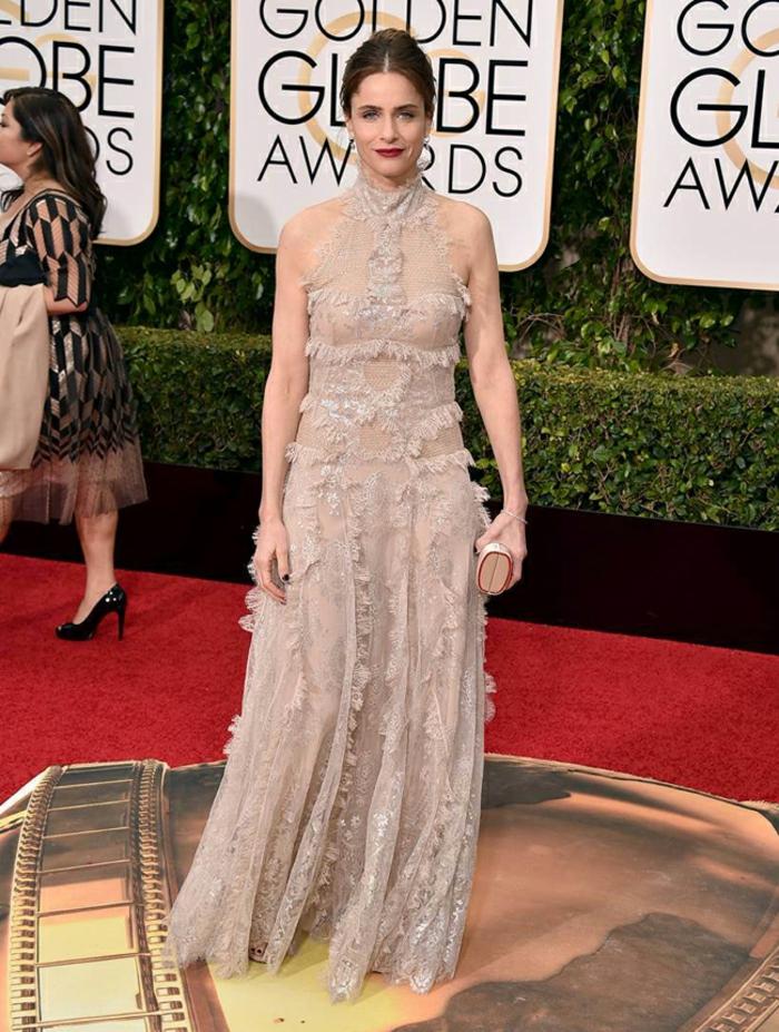 Abendkleider lang Golden Globes 2016 amanda peet Alexander McQueen