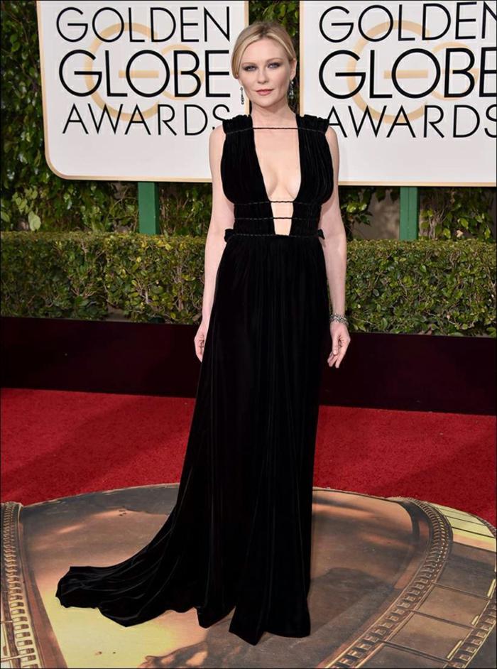 Abendkleider lang Golden Globes 2016 kirsten dunst valentino